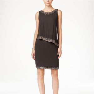 JKara Sleeveless Bead Trim Popover Dress
